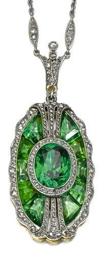 Tiffany & Co Tourmaline and old Brilliant Cut-Diamond Necklace Circa 1910.