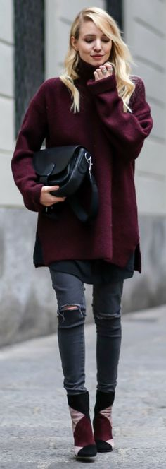 Leonie Sophie + patchwork trend + pair of  suede booties + distressed skinny jeans + oversized plum sweater.   Turtleneck: Zara, Bag: Bree, Boots: Gianvito Rossi, Dress: Ikks, Jeans: Anine Bing.