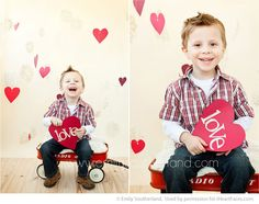 Valentine's Day posing ideas for Kids (via iHeartFaces.com) - love the hanging hearts in the background @Melinda W W Kim
