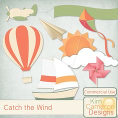 Catch the Wind by Kim Cameron Designs - Catch the wind with some breezy templates. Includes a PSD and separate PNG layers for an airplane with banner, cloud, hot air balloon, kite, paper airplane, pinwheel, sailboat and sun. Commercial use ok! #digitalscrapbooking