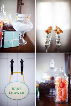 Candy center (jars + candy + scoops)+ little boxes and ribbon = scoop it yourself shower favor   (little vase with fresh flower, too)