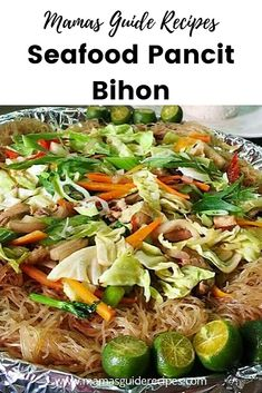 Seafood Pancit Bihon recipe, is for people who doesnt eat pork or meat. If you want your Pancit Bihon to be super delicious, don't forget to add. Filipino Dishes, Filipino Recipes, Filipino Food, Asian Recipes, Ethnic Recipes, Filipino Desserts, Vegetable Recipes, Vegetarian Recipes, Cooking Recipes