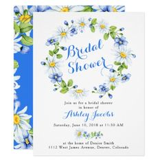 Blue White Daisy Floral Bridal Shower Invitation - spring wedding diy marriage customize personalize couple idea individuel