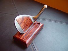 Golfer Desktop Business Card Holder Rustic Wood Sign