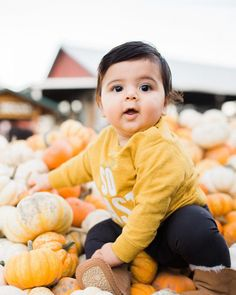 Baby at the pumpkin patch Pumpkin Pictures, Fall Pictures, Fall Photos, Pumpkin Patch Photography, Baby Poses, Baby Images, Baby In Pumpkin, Baby Month By Month, Shutter