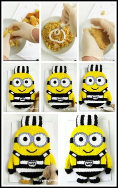 Use cake ball filling to create the arms on this adorable Minion Cake for your Despicable Me 3 party. This cute minion is wearing a black and white prisoner uniform just like in the movie. Despicable Me Cake, Frosting Colors, Creative Party Ideas, Cute Minions, Best Party Food, Edible Crafts, Cool Birthday Cakes, Cake Videos, Party Treats