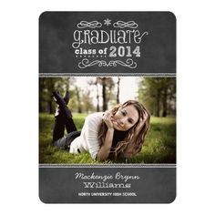 Announce your graduate in style with this whimsical style photo graduation announcement that features a black chalkboard textured background look with handwritten white chalk text, scrolls, and doodles next to a portrait photo space.