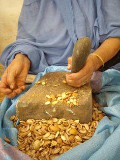A Berber woman cracking the  Moroccan Argan nuts. http://www.kenza-puremoroccanbeautyoils.com/discover-kenza