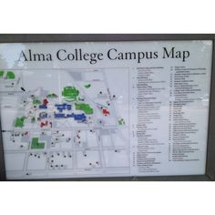 Alma College Campus Map, Alma, MI