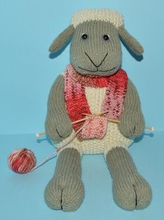 Lola Lamb-Bert The Knitting Sheep is a sweet little lamb who loves to knit. Lola is a very versatile pattern as she can be made as a girl or a boy. She can be made for any age - from babies to adults (just substitute the safety eyes for embroidered eyes and remove the knitting for babies and small children.) Lola sits beautifully by herself, and needs no propping up. This is an easier knit for those with some knitting experience.