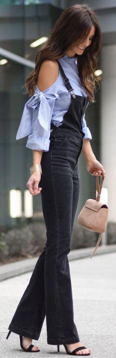 #spring #outfits /  Blue Open Shoulder Shirt / Black Jumpsuit / Black Sandals