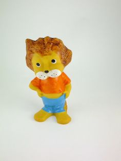 Vintage Lion Rubber Toy Russian Lion Rubber Baby by ContesDeFees