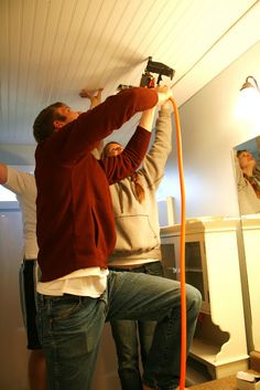 DIY bead board ceiling- great tutorial.(cute bathroom too) idea for office ceiling in basement