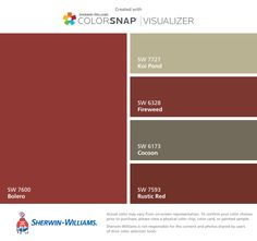 I found these colors with ColorSnap® Visualizer for iPhone by Sherwin-Williams: Bolero (SW 7600), Koi Pond (SW 7727), Fireweed (SW 6328), Cocoon (SW 6173), Rustic Red (SW 7593).