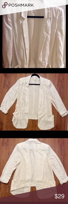 Lauren Conrad White Casual Blazer Size 12, great condition, 90% rayon, 10% nylon, polyester lining, 28-inch front length, 23-inch back length, 17-inch width, 26-inch sleeve LC Lauren Conrad Jackets & Coats Blazers