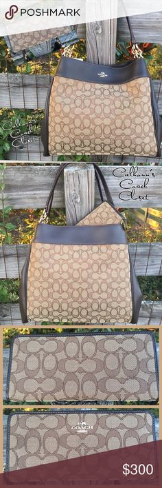 F57612 Coach Lexy Signature Brown Purse Wallet Set This is a gorgeous bag! The bag features beautiful Mahogany brown leather with a reddish-brown trim and glove stitching surrounded by a beautiful signature fabric. Brand new with tags, it's perfect. The wallet is like new, it's been used a few times with a different bag of mine. Blow up the last, top picture to see the gorgeous details of this bag.  I am a collector, so please check out my other listings. Also, follow my F B Group Page…