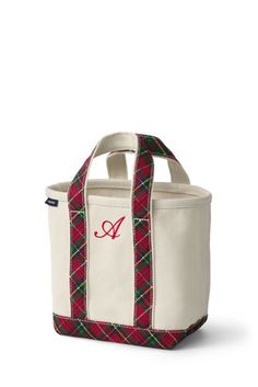Land's End - Red Plaid Small Tote Bag