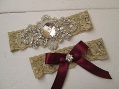 RED Rustic Christmas Wedding Garter Set by GibsonGirlGarters
