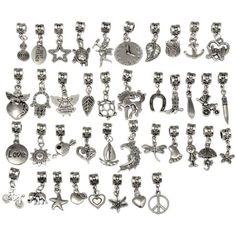 eART 40 PCS Tibetan Silver Connectors Bails Mix Beads with Pendant Fit Charm European Bracelet 201
