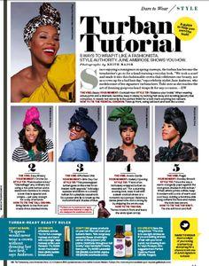 May 2011 Ebony Magazine. 5 ways to wrap it like a Fashionista.