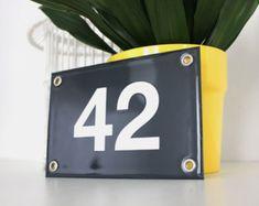 Numéro de maison émaillé 15x20 cm *personnalisé*, numéro de rue émaillé / Plaque pour la maison émaillée, une authentique décoration vintage