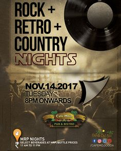 A rock & country music flashback is back this Tuesday at Café Mojo Goa for all those who love those old school foot tapping tunes. Get ready for Retro-iffic Tuesday feat. DJ Richard. #Goa #Party