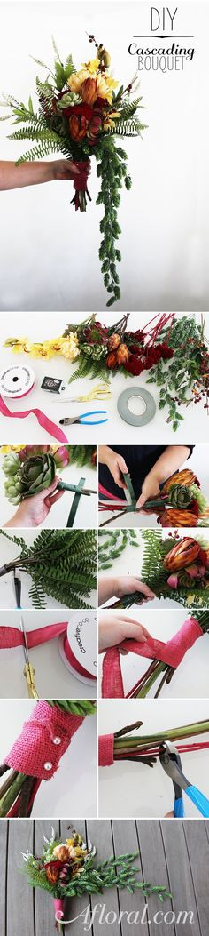 Learn how to make a cascading flower bouquet with this simple DIY. Use gorgeous preseved stems and fall flowers from Afloral.com for your rustic wedding.