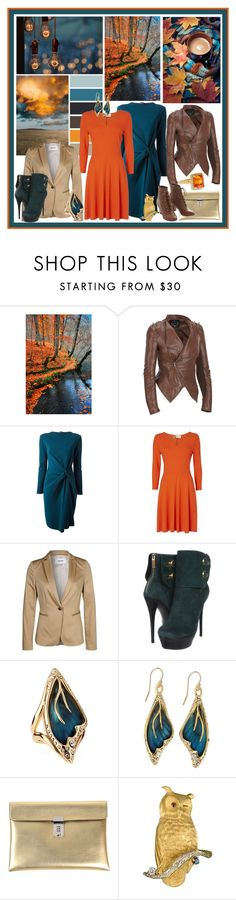 """""""Autumn Teal+Orange"""" by forestcat-lsc ❤ liked on Polyvore featuring Black Rivet, Lanvin, Jaeger, TURNOVER, Rachel Zoe, Alexis Bittar, Golden Goose, Buccellati and But Another Innocent Tale"""