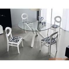 CB4728 Mikado - Tavolo di design in legno di faggio laccato bianco ottico opaco con piano tondo in vetro trasparente