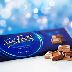 Karl Fazer Blue Original Finnish Milk Chocolate Bar Fazer Blue Chocolate Bar Our most popular candy item! This top shelf milk chocolate from Fazer comes in a bar big enough to share, but nobody can be blamed for saving this creamy treat for themselves! Blue Chocolate, Chocolate Brands, How To Make Chocolate, Chocolate Candies, Chocolate Dreams, Finnish Words, Popular Candy, Food Icons, Cocoa Butter