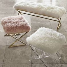 The silken texture and natural opulence of real fur gives our Corinne Bench a decadent appeal. - Home Decor - Style & Trends - Home Decor - Style & Trends Cute Room Decor, Teen Room Decor, Living Room Decor, Gold Room Decor, Dining Room, Wall Decor, Dining Chairs, Room Ideas Bedroom, Bedroom Decor