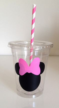 Red or Pink Minnie Mouse Party Cups with Lid