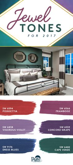 Ready to adorn your home with jewel tones? These Sherwin Williams shades on trend for 2017 will give your bedroom an oh-so lavish feel.    - SW 6594 Poinsettia  - SW 6566 Framboise  - SW 6838 Vigorous Violet  - SW 6559 Concord Grape  - SW 9176 Dress Blues  - SW 6482 Cape Verde | Pulte Homes