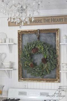 vintage frame with chalk board paint & wreath