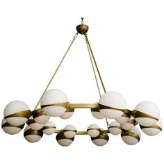 "Italian Stilnovo Style Brass & Glass Chandelier, 57""D 1"