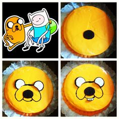 DIY adventure time themed cake.. Inspired by Jake from adventure time.. Just used 3 double stuffed Oreo cookies for the eyes, nose, teeth and black edible cake gel for the outline of the mouth  my niece and nephew loved it