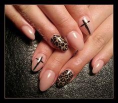 leopard/cross nude gel nails