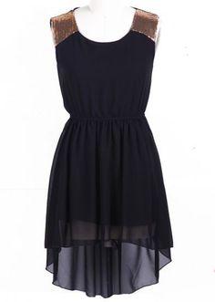 Black Sleeveless Sequined Shoulder High Low Dress