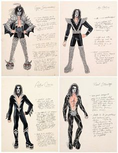 """Destroyer"" tour original costume sketches and fabrication notes for Gene Simmons, Paul Stanley, Ace Frehley an. on Jul 2007 Kiss Costume, Rock Costume, Kiss Rock Bands, Kiss Band, Los Kiss, Banda Kiss, Kiss Group, Historia Do Rock, Kiss Concert"