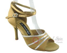 Natural Spin Signature Latin Shoes(Open Toe):  H1108-01_GoldES