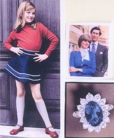 Princess Diana when she was younger and then the engagement picture and the famous Sapphire engagement ring.