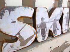 Handcrafted Wood SKI Decor - Original vintage ski photos