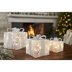 Add a glamorous sparkling touch to your Christmas decor with our Pre-Lit White and Silver Christmas Gifts. The pre-lit design will create warm glow. Classy Christmas, Christmas Gift Sets, Christmas Mantels, Christmas Crafts For Kids, Christmas Diy, Christmas Trees, Kirklands Christmas, Christmas Villages, Victorian Christmas