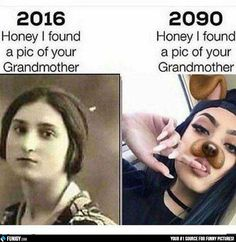 I found a pic of your Grandmother - 2016 VS 2090 (Funny Weird Pictures) - #2016 #2090 #grandmother #picture