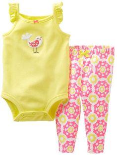 Carters 2 Piece Bodysuit and Pants Set Baby  Bird3 Months