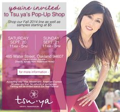 Tsu.ya Pop-Up Shop this Saturday and Sunday! Shop our new Fall 2014 collection and samples starting at $5 ..don't miss out!   We are located at 485 Water Street in the heart of Jack London Square    #tsuya #tsuyabrand #popupshop #newarrivals #jacklondonsquare #shoptilyoudrop #activewear #yogawear #fallfashion #samplesale