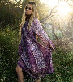 Purple gypsy print boho chic tunic cover up dress. FOLLOW http://www.pinterest.com/happygolicky/the-best-boho-chic-fashion-bohemian-jewelry-gypsy-/ for the BEST Bohemian fashion trends in clothing & jewelry.