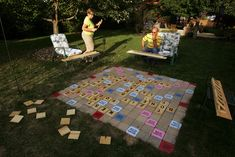 Lawn Scrabble - I think this is too cool. I've seen a magnetic wall Scrabble too. So fun! Lawn Games, Backyard Games, Outdoor Games, Outdoor Fun, Cozy Backyard, Backyard Seating, Backyard Ideas, Backyard Parties, Backyard Retreat