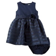 Just One YouMade by Carter's Baby Girls' Blue Stripe Rosette Dress 6M, Infant Girl's, Size: 6 M, Bella Indigo
