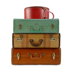 Quirky Uses for Vintage Suitcases via Polyvore featuring bags, luggage, fillers, suitcase and vintage